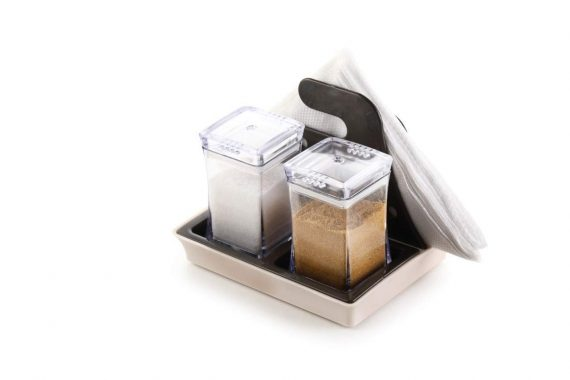 0120 Salt and Pepper Set with Tissue Holder Kitchen Dining Table - DeoDap