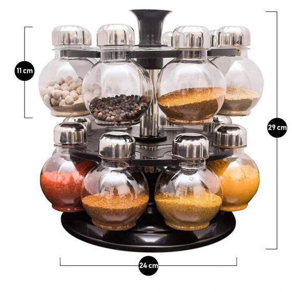 0069 Multipurpose Revolving Plastic Spice Rack Set (16pcs) - DeoDap