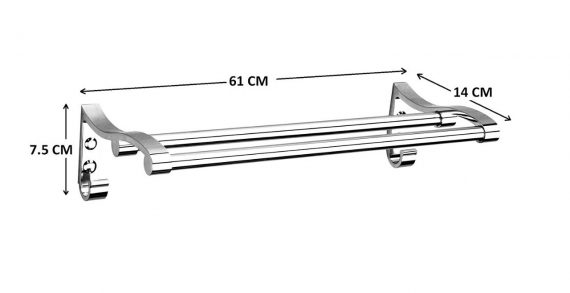 0490 Stainless Steel Towel Rack Cum Towel Bar 24 Inch - DeoDap