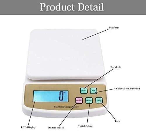 0869 Atom A122 Electronic Kitchen Digital Weighing Scale (SF-400A), White - DeoDap