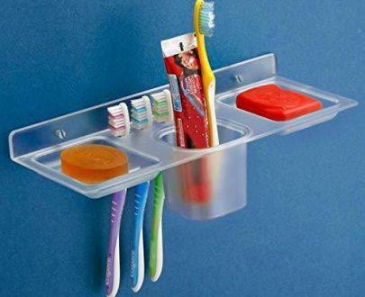 0756_ABS Plastic 4 in 1 Multipurpose Kitchen/Bathroom Shelf/Paste-Brush Stand/Soap Stand/Tumbler Holder/Bathroom Accessories - DeoDap
