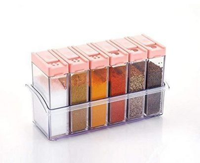 0122 Plastic Spice Jars (6 pcs, 14x22x8cm, Multicolour) - DeoDap