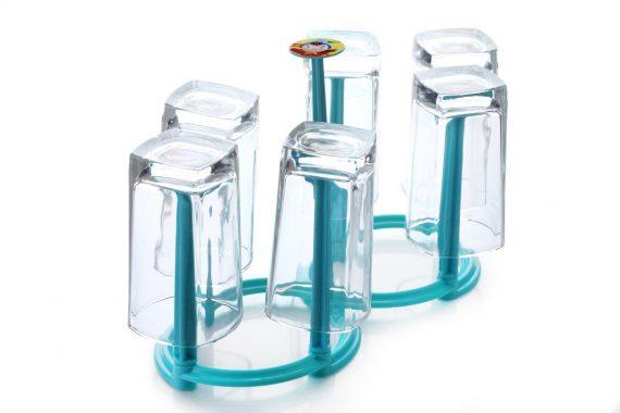 2114 Movable Folding Design Glass Stand/Holder for 6 Glasses - DeoDap