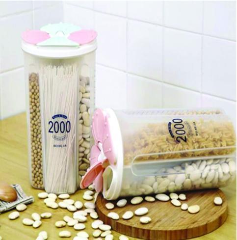0766 Kitchen Storage - Transparent Sealed Cans/Jars/Storage Box 4 Section - DeoDap