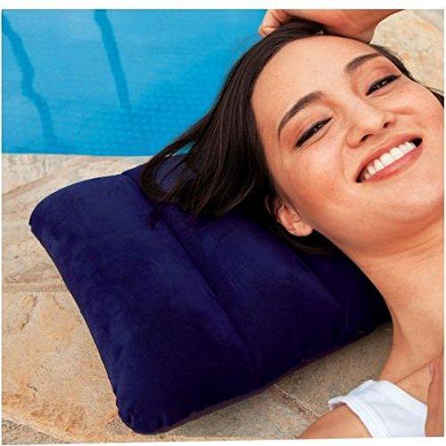 0510 Velvet Air Inflatable Travel Pillow (Blue) - DeoDap