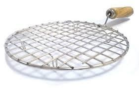 2085 Kitchen Round Stainless Steel Roaster Papad Jali, Barbecue Grill with Wooden Handle - DeoDap