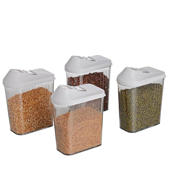 0096 Plastic Easy Flow Storage Jar with Lid (750ml, Set of 6) - DeoDap