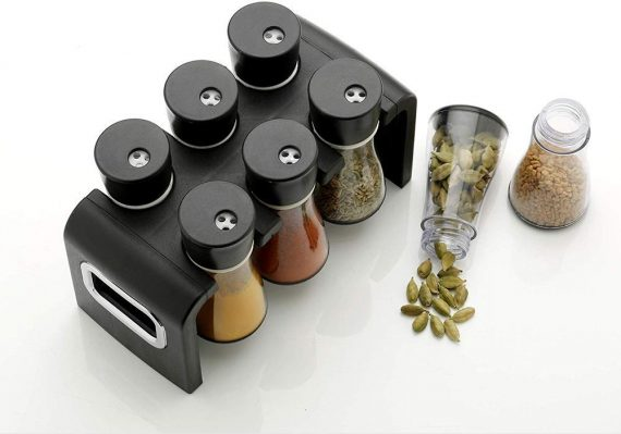 0100 Revolving Plastic Spice Rack Masala Organiser (6 Pcs) - DeoDap