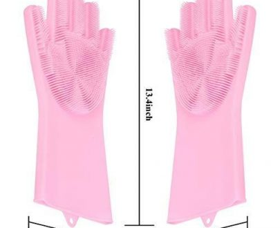 0714 Reusable Silicone Cleaning Brush Scrubber Gloves (Multicolor) - DeoDap