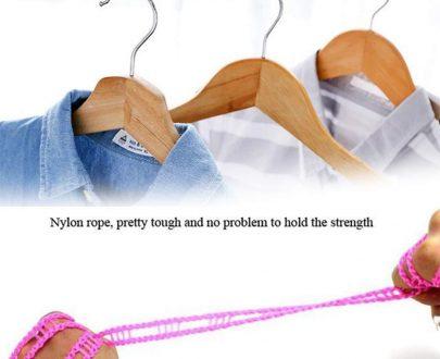 0588 Nylon Clothesline, Windproof Anti-Slip Hanger Stop Rope with 2 Hooks (4 Meters) - DeoDap