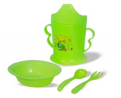 0815 Kids Feeding Set with 1 Dish, Spoon Set and Water Bottle - DeoDap