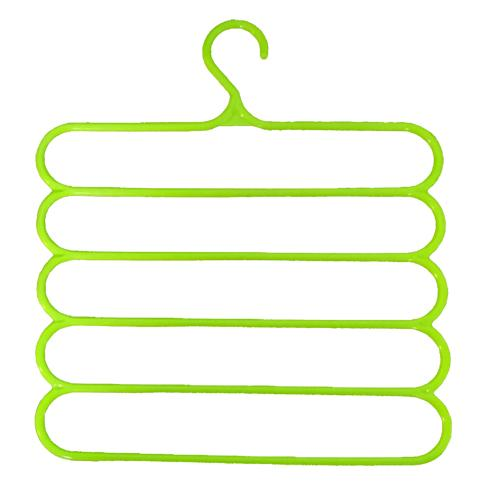 1541 Premium Wardrobe Storage Organizer 5 in 1 Multipurpose Plastic Hanger, Assorted (5) - DeoDap