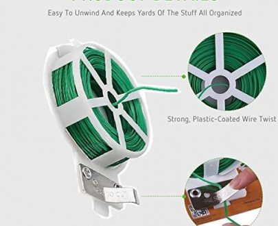0873 Plastic Twist Tie Wire Spool With Cutter For Garden Yard Plant 50m (Green) - DeoDap