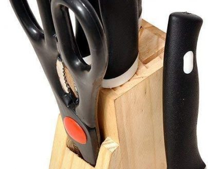 0102 Kitchen Knife Set with Wooden Block and Scissors (5 pcs, Black) - DeoDap