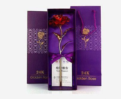 0879 24K Artificial Golden Rose/Gold Red Rose with Gift Box (10 inches) - DeoDap