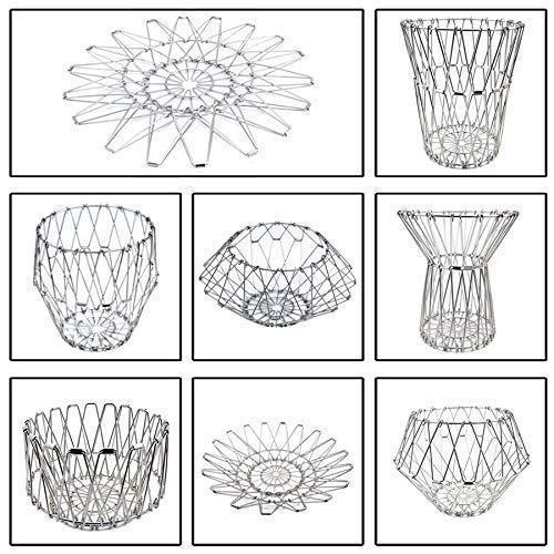 3040 Multipurpose Fruit Basket Stainless Steel Wire Bowl Foldable Basket for Vegetable / Fruits / Dining - DeoDap