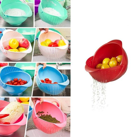 2145 DeoDap Plastic Revolving Multi Functional Rice, Vegetable Fruit Wash Basket Bowl (Multi Colour) - DeoDap