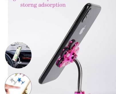 0637 -360 Rotatable Flower Shape Cellphone Holder Car & Mount Sucker Stand (Multicolored) - DeoDap