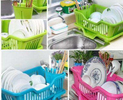 0747 (Small) Plastic Sink Dish Drainer Drying Rack - DeoDap