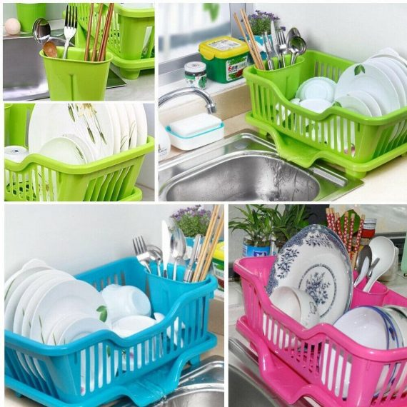 0747 (Small) Plastic Sink Dish Drainer Drying Rack - DeoDap