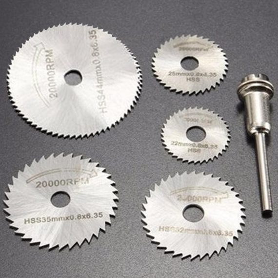 0408 -6pcs Metal HSS Circular Saw Blade Set Cutting Discs for Rotary Tool - DeoDap