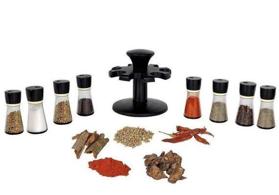 0097 Revolving Plastic Spice Rack Masala Organiser (8 Pcs) - DeoDap