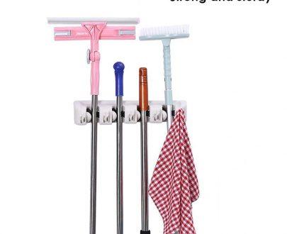 0243 4-Layer Mop and Broom Holder, Garden Tool Organizer, Multipurpose Wall Mounted - DeoDap