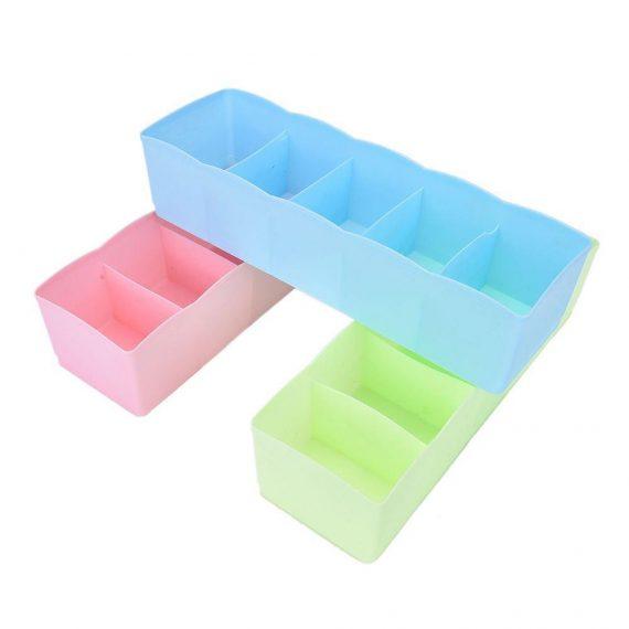 0235 5-Compartments Socks/Handkerchief/Underwear Storage Box Socks Drawer Closet Organizer Storage Boxes (pack of 2) - DeoDap