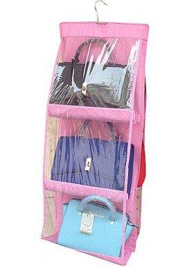 6 Pocket Foldable Hanging Organiser (Pink)