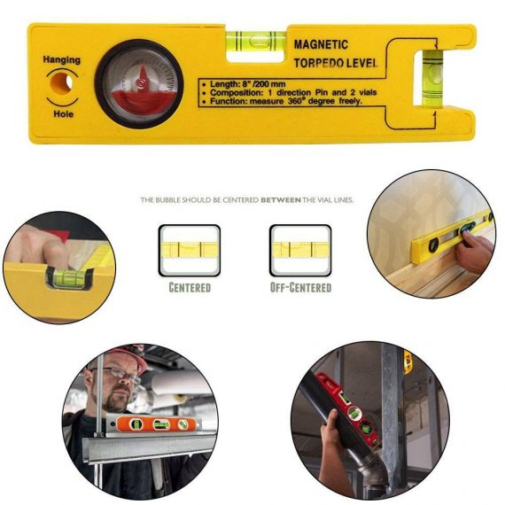 0429 8-inch Magnetic Torpedo Level with 1 Direction Pin, 2 Vials and 360 Degree View - DeoDap