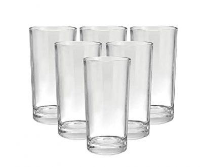 2027 Maitri Heavy unbreakable Plastic Stylish look fully Transparent Large Glasses Set 300ml (6pcs) - DeoDap