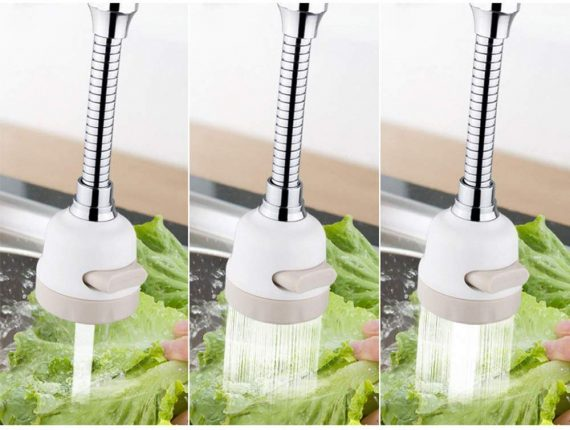 1534 3 Modes Water Saving Nozzle, Universal 360 Degree Rotating Faucet Filter Splash Proof Sprinkler for Kitchen - DeoDap