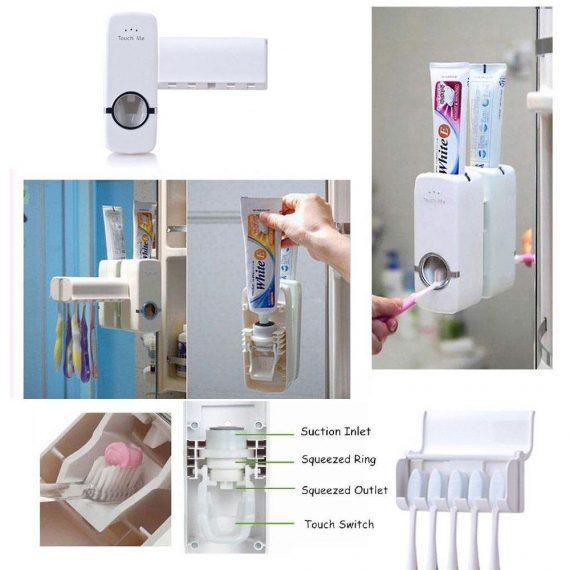0174 Toothpaste Dispenser & Tooth Brush Holder - DeoDap