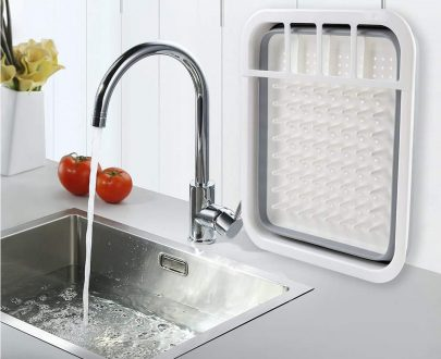 0804 Collapsible Folding Silicone Dish Drying Drainer Rack with Spoon Fork Knife Storage Holder - DeoDap