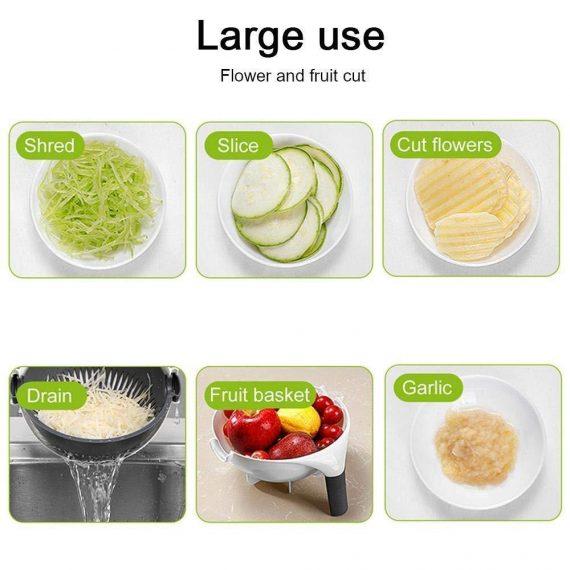 2161 10 in 1 Multifunctional Vegetable Fruits Cutter/Slicer Shredder with Rotating Drain Basket - DeoDap
