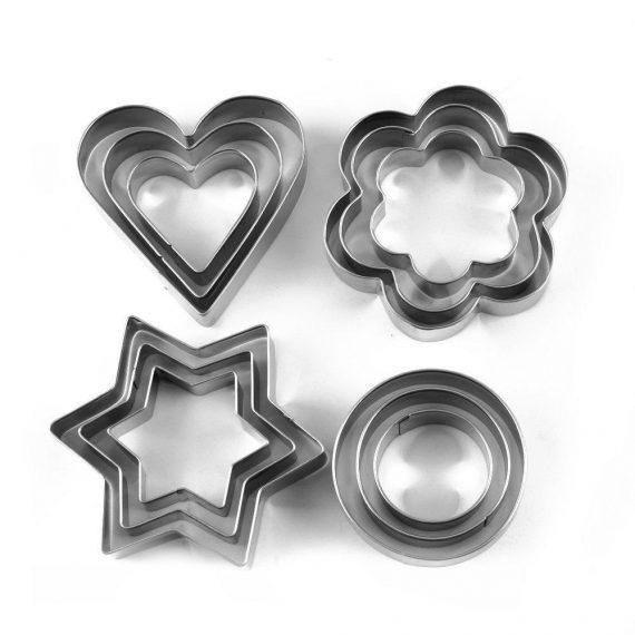 0813 Cookie Cutter Stainless Steel Cookie Cutter with Shape Heart Round Star and Flower (12 Pieces) - DeoDap