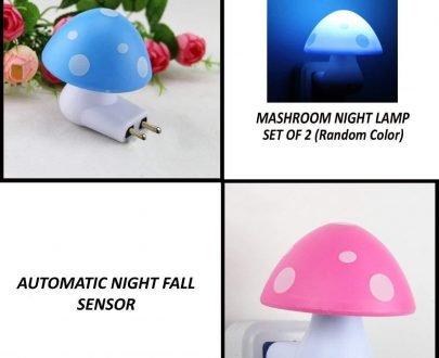 0254 Automatic Night Sensor Mushroom Lamp (0.2 watt, Multicolour) - DeoDap