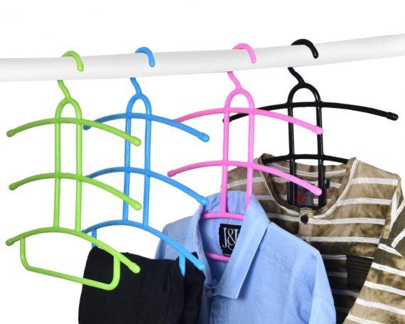 1273 Multi-Layer Fish Bone Shape Clothing Storage Hanger/Drying Rack - DeoDap