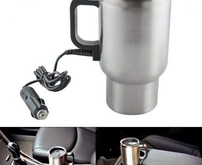 0551 -12V Car Charging Electric Kettle Mug (Silver) - DeoDap
