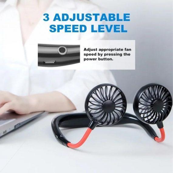 0875 Portable USB Battery Rechargeable Mini Fan - Headphone Design Wearable Neckband Fan - DeoDap