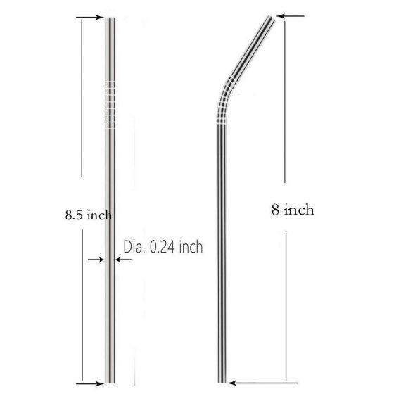 0579 Set of 4 Stainless Steel Straws & Brush (2 Straight straws, 2 Bent straws, 1 Brush) - DeoDap