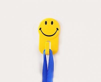0604 Plastic Self-Adhesive Smiley Face Hooks, 1 Kg Load Capacity (6pcs) - DeoDap