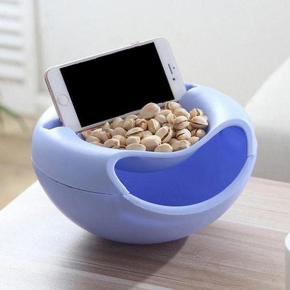 0250 Pista Nut Fruit Platter Serving Bowl With Mobile Phone Holder by HomeFast - DeoDap