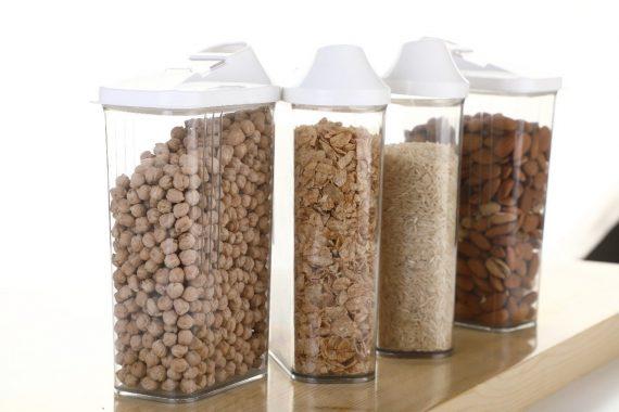 2166 Transparent Plastic Air Tight Food Storage Container Jar Dispenser for Kitchen - 1100 ml (Set of 3) - DeoDap