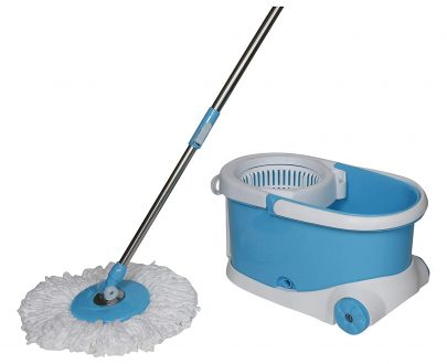 1268  Heavy Duty Microfiber Spin Mop with Plastic Bucket - DeoDap