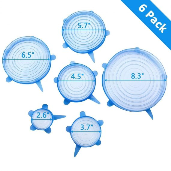 2154 Silicone Stretch Lids Reuseable Microwave Safe Flexible Covers (Set of 6) (Loose Pack) - DeoDap