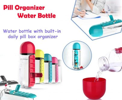 0365 -7 Days Pill Tablet Medicine Organizer with Water Bottle 600ml - DeoDap