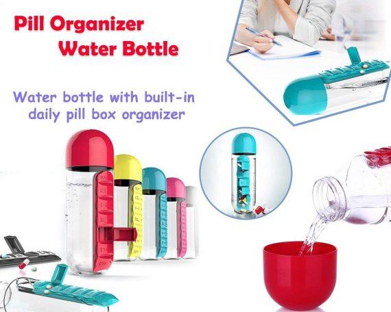 0365 -7 Days Pill Tablet Medicine Organizer with Water Bottle 600ml - DeoDap