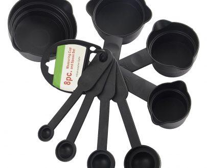 0106 Plastic Measuring Cups and Spoons (8 Pcs, Black) - DeoDap