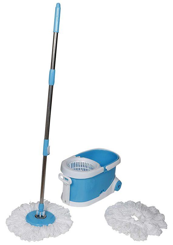 1268  Heavy Duty Microfiber Spin Mop with Plastic Bucket - DeoDap